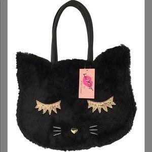 Betsy Johnson Kitty Cat Black Faux Fur Tote